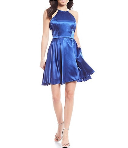 Blondie Nites Satin Lace-Up Back Fit & Flare Dress