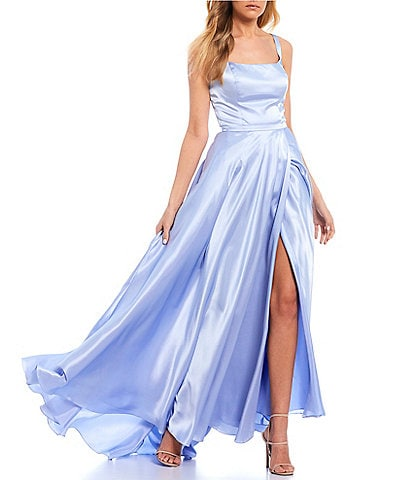 Blondie Nites Sleeveless Square-Neck Cut-Out Back Side Slit Charmeuse Ball Gown
