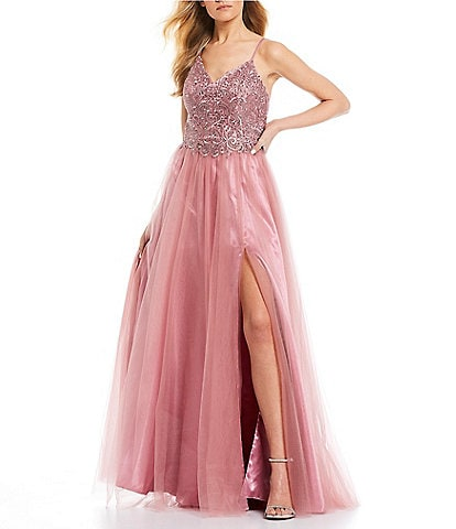 Blondie Nites Spaghetti Strap Embroidered Bodice Side Slit Mesh Ball Gown