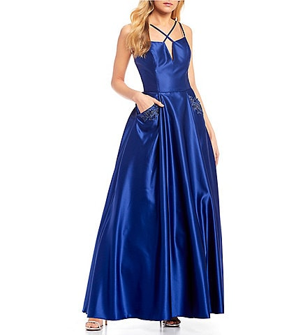 Blondie Nites Spaghetti Strap X-Front Embellished Pocket Satin Ball Gown