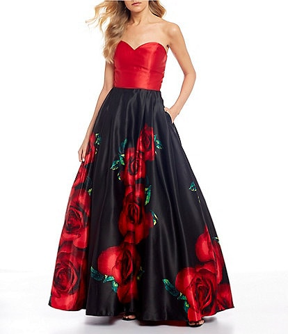 Blondie Nites Strapless Solid Bodice Lace-Up Back Floral Print Ball Gown