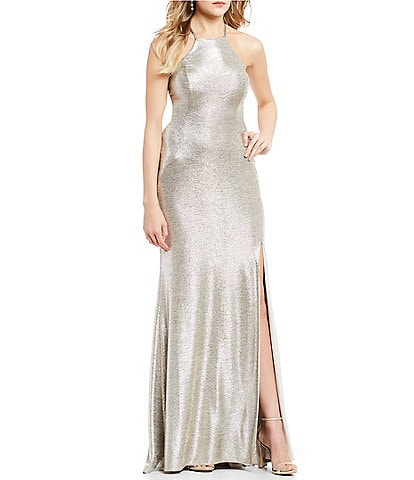 Blondie Nites Strappy Open Back Metallic Long Dress