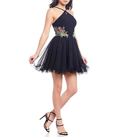 Blondie Nites Y-Keyhole Embroidered Side Fit-and-Flare Dress