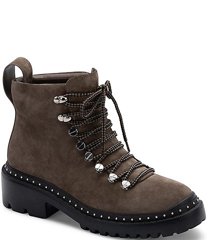 Blondo Chrissy Waterproof Suede Lace-Up Lug Sole Combat Boots