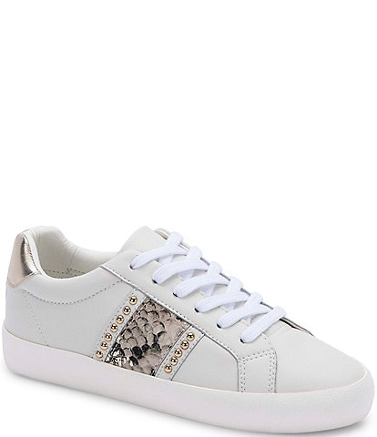 Blondo Gavi Waterproof Leather Snake Print Studded Detail Lace-Up Sneakers