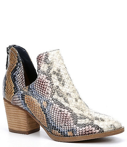 Blondo Neda Waterproof Snake Print Leather Western Block Heel Booties