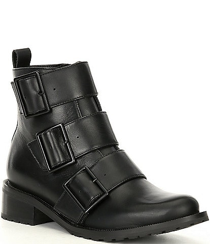 Blondo Vera Leather Waterproof Chain Trim Buckle Detail Combat Boots
