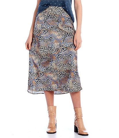 Blu Pepper Animal Print Midi Skirt