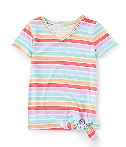 Blu Pepper Big Girls 7-16 Short-Sleeve Stripe Tie-Front Top