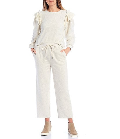 Blu Pepper Coordinating Ruffle Shoulder Long Sleeve Sweatshirt