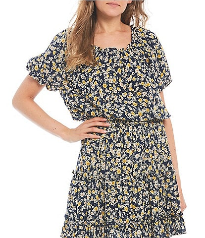 Blu Pepper Coordinating Ditsy Floral Balloon Sleeve Top