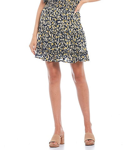 Blu Pepper Coordinating Ditsy Floral Smocked Tiered Mini Skirt