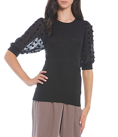 Blu Pepper Dotted Textured Elbow Sleeve Knit Top
