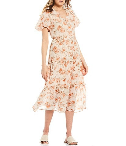 Blu Pepper Floral Button Front Short Balloon Sleeve Tiered Midi Dress