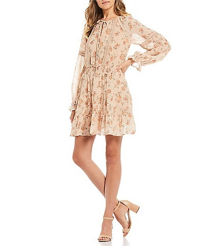 Blu Pepper Floral Long Sleeve Tiered Dress