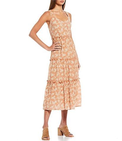 Blu Pepper Floral Tiered Midi Dress