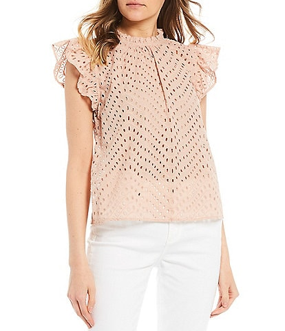 Blu Pepper Flutter Sleeve Eyelet Knit Top