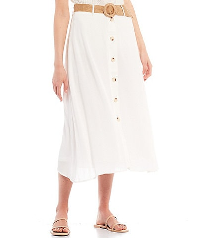 Blu Pepper Mid-Rise Button-Front Belted Midi Skirt