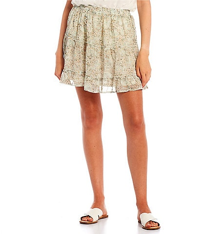 Blu Pepper Paisley Print Tiered Skirt