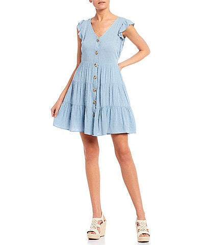 Blu Pepper Ruffle Cap Sleeve Button Front Tiered Dress