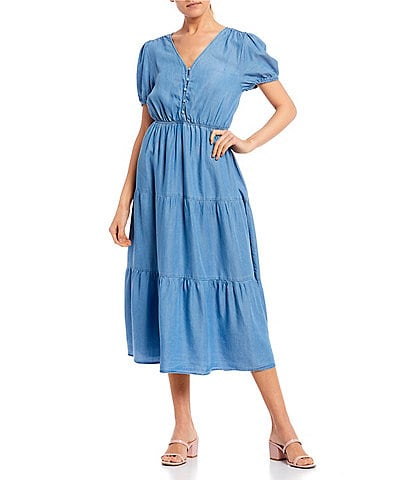 Blu Pepper Short Sleeve Button Front Tiered Midi Dress