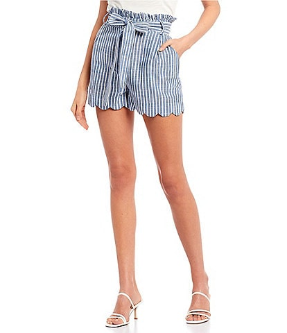 Blu Pepper Stripe Paperbag Waist Shorts