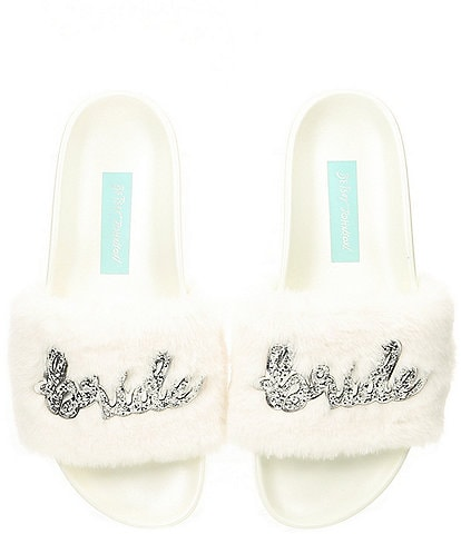 Blue by Betsey Johnson Alice Faux-Fur Bridal Slides