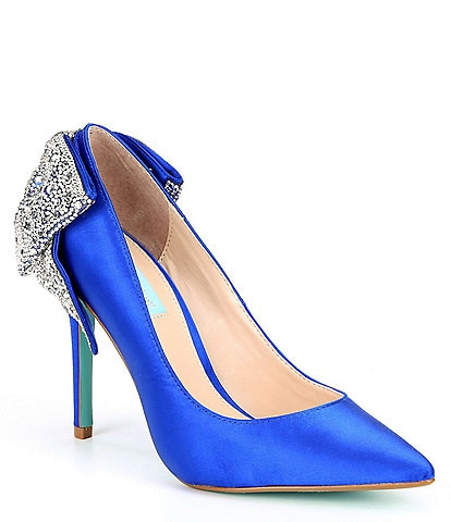 Blue by Betsey Johnson Rhinestone Bow Detail Bryn Pumps