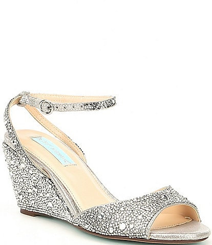 Blue by Betsey Johnson Elora Rhinestone Jeweled Metallic Wedge Sandals