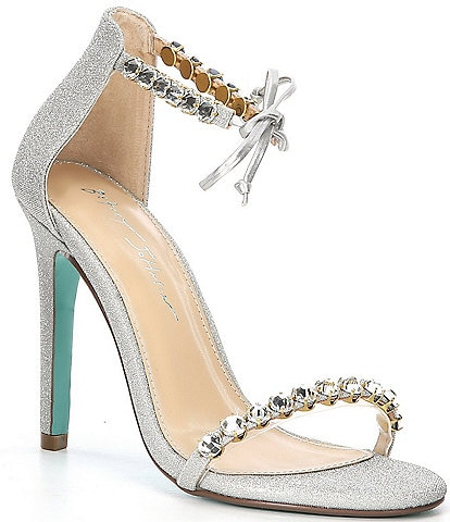Blue by Betsey Johnson Gilly Rhinestone Ankle Tie Dress Sandals