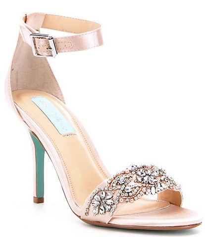 Blue by Betsey Johnson Gina Jeweled Printed Ankle Strap Dress Sandals