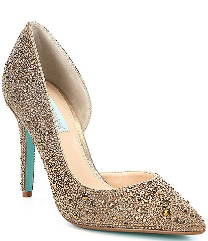 Blue by Betsey Johnson Hazil Jeweled d'Orsay Pointed Toe Stiletto Pumps