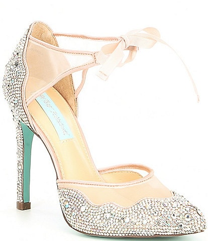 Blue by Betsey Johnson Iris Satin Rhinestone Stiletto Pumps