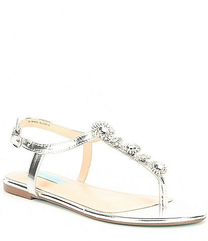 Blue by Betsey Johnson Laur Metallic & Jewel Embellished T Strap Dress Sandals
