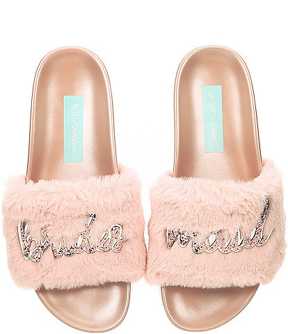 Blue by Betsey Johnson Lori Bridesmaid Faux-Fur Slides