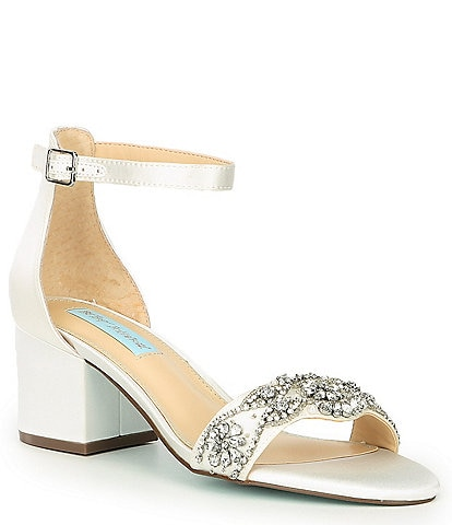 Blue by Betsey Johnson Mel Bejeweled Satin Block Heel Dress Sandals