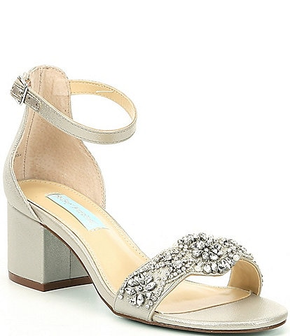 Betsey Johnson Mel Bejeweled Satin Block Heel Dress Sandals