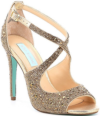Blue by Betsey Johnson Sage Rhinestone Jeweled Satin Peep Toe Dress Sandals