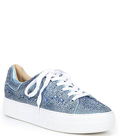 Blue by Betsey Johnson Sidny Rhinestone Embellished Platform Lace-Up Sneakers