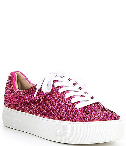 Blue by Betsey Johnson Sidny Rhinestone Embellished Lace-Up Sneakers