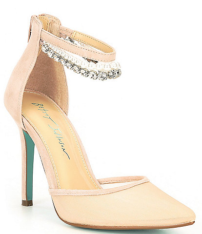 Blue by Betsey Johnson Tegan Chain Jeweled Embellishment Detail Ankle Strap Pumps