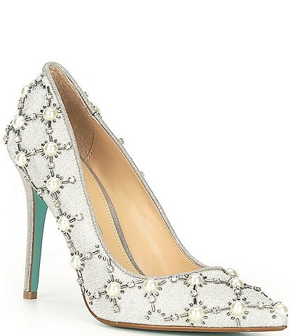 Blue by Betsey Johnson Val Pearl Bead Embellished Point Toe Pumps