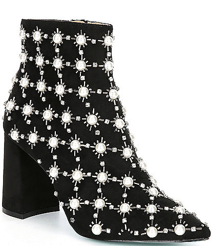 Blue by Betsey Johnson Zoie Faux Pearl Embellished Block Heel Booties