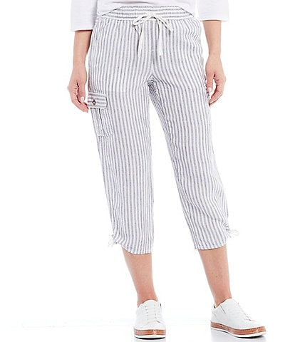 Blue Earth Shiloh Pull-On Cargo Pocket Linen Capri Pants