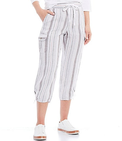 Blue Earth Shiloh Pull-On Cargo Pocket Vertical Stripe Linen Capri Pants