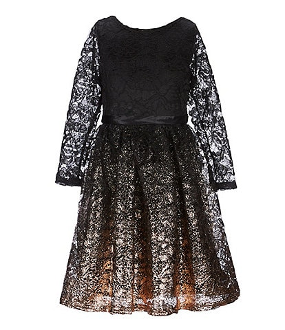 Blush by Us Angels Big Girls 7-16 Foiled Border Lace Fit-And-Flare Dress