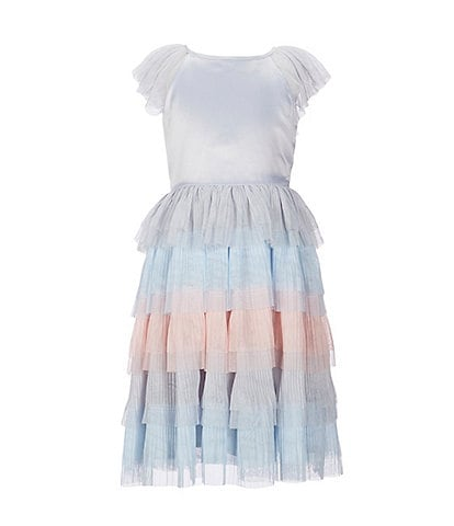 Blush by Us Angels Big Girls 7-16 Matte Satin/Multicolor Tiered Mesh Fit-And-Flare Dress