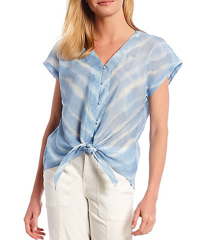 Bobeau Lucille Blue Water Print V-Neck Short Sleeve Button Down Tie-Front Top