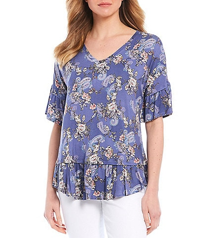 Bobeau Paisley Floral Print V-Neck Short Sleeve Ruffle Trim Top