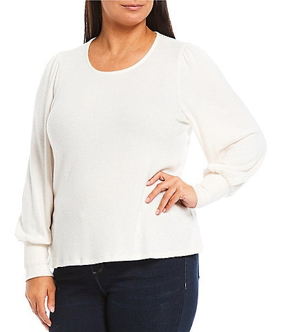 Bobeau Plus Size Balloon Sleeve Cozy Knit Top